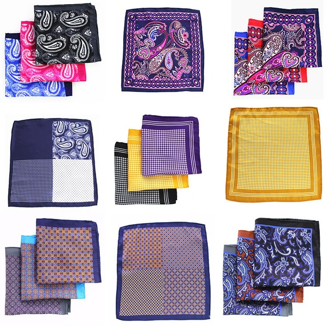 48 Styles Mans Pocket Square Paisley Design Houndstooth Color Matching Handkerchief Luxury Printing Pocket Scarf Accessories