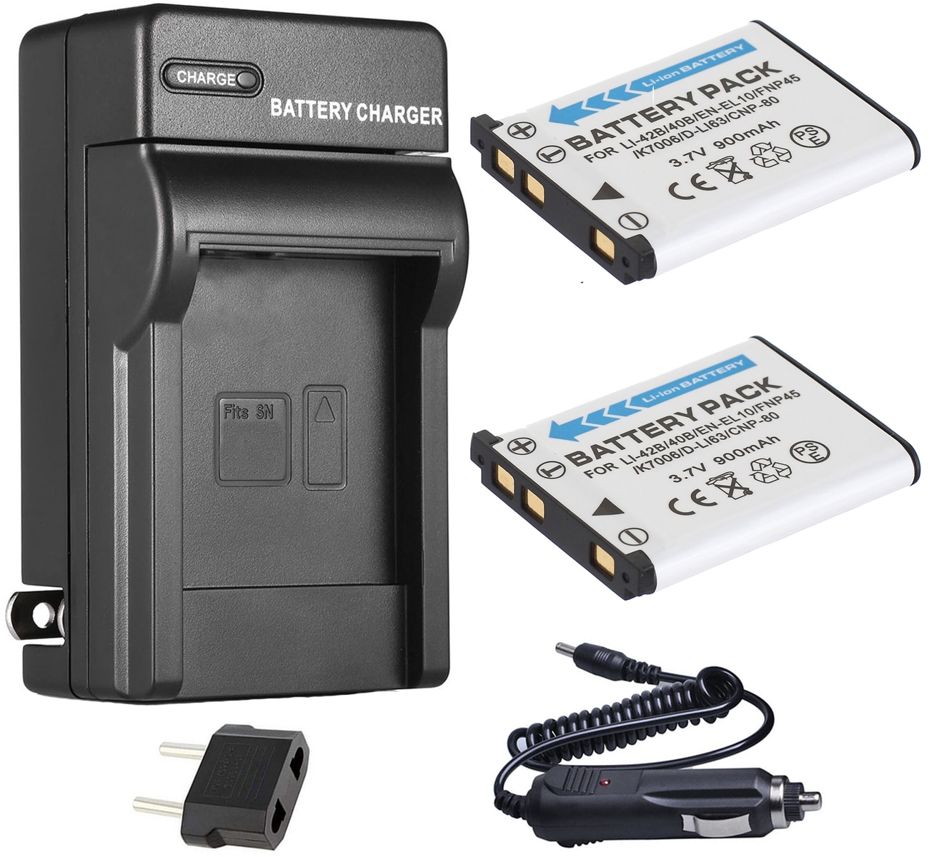 Bateria (2 pacotes) + carregador para olympus stylus VG-165, VG-180, 550wp, X-560WP, d630, d720, d725, d730, d765, d770 câmera digital
