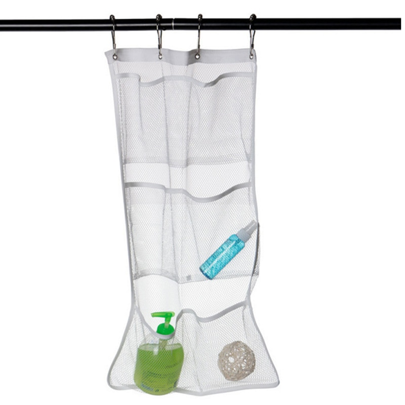 Organizador de malla colgante para ducha, con 6 bolsillos, 63x36cm