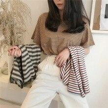 Mooie Meisjes Shortsleeve Grid Hot Boren Rhinestone Casual Tops Streep Shirts Perspectief Knappe Koreaanse Top Корейский Стиль