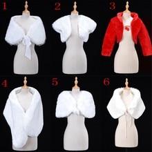 6 Styles blanc rouge femmes mariage mariée boléro fausse fourrure enveloppement châle veste Cape étole manteau courte Cape accessoires de mariage