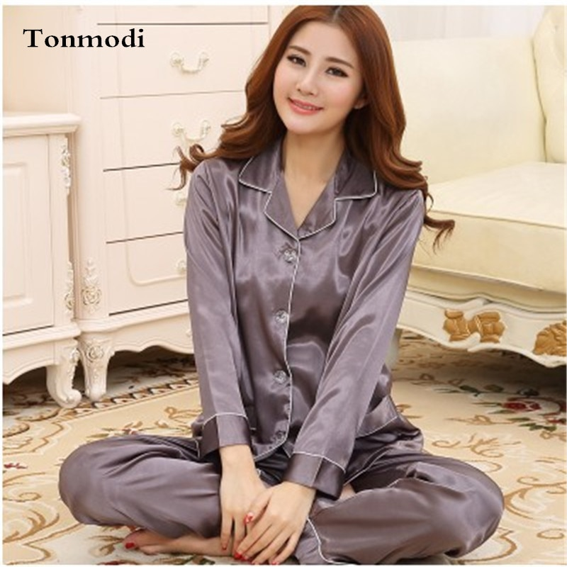 Pijamas elegantes de lujo para mujer primavera sueño seda satén sólido café señoras Pijamas Mujer salón pijama Conjuntos talla grande 3XL