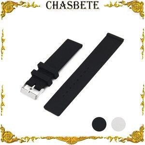 20mm 22mm Silicone Rubber Watch Band for Omega Watchband Men Women Strap Wrist Loop Belt Bracelet Black White + Tool + Pin