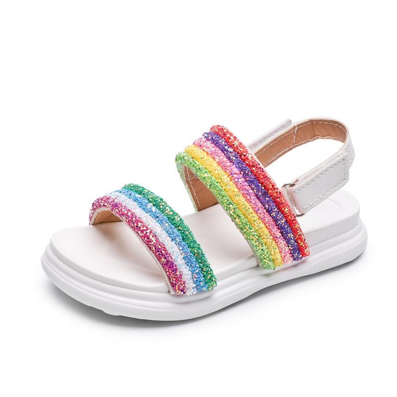 Mädchen Sandalen Kinder Leder Glitter Schuhe Regenbogen Kinder Gladiator Sandalen Baby Mädchen Flache Prinzessin Strand Sandalen Casual Schuhe