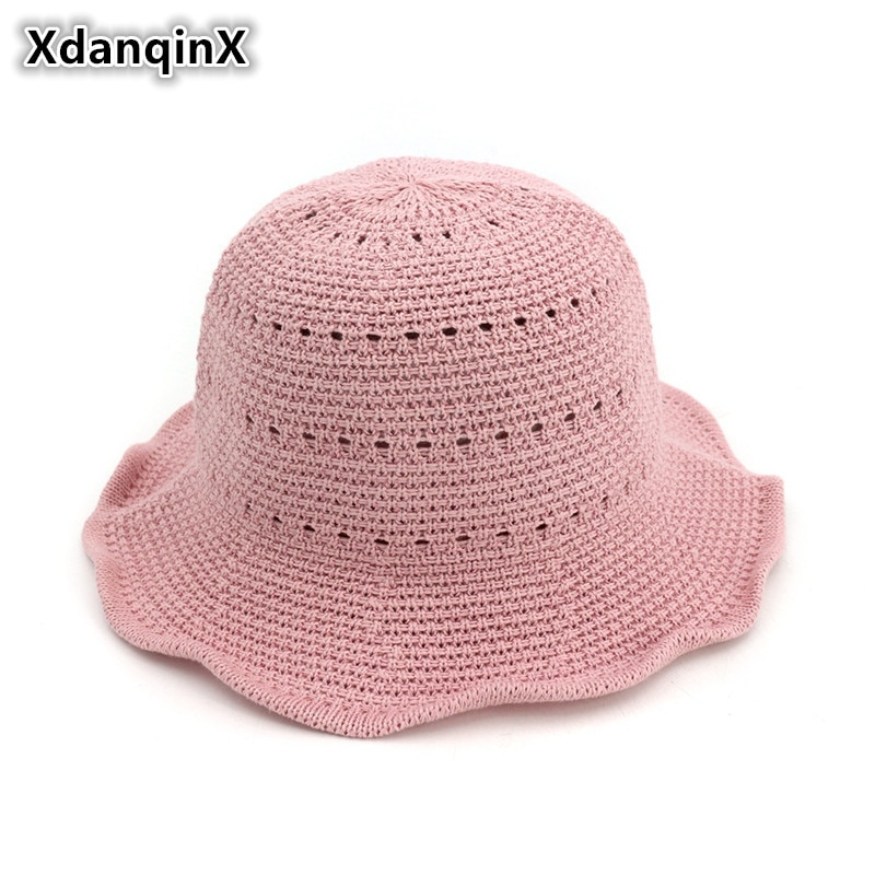 XdanqinX Summer Womens Antique Bucket Hats New Style Breathable Foldable Sun For Women Sunscreen Female Brand Beach Hat