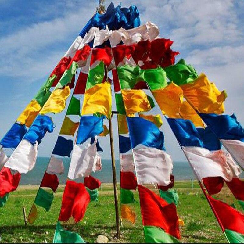 Tibetano budista vajrasattva oro escritura Bandera de oraciones de seda cinco estampado de colores 6,5 metros 20 piezas/cadena religiosa suerte escritura