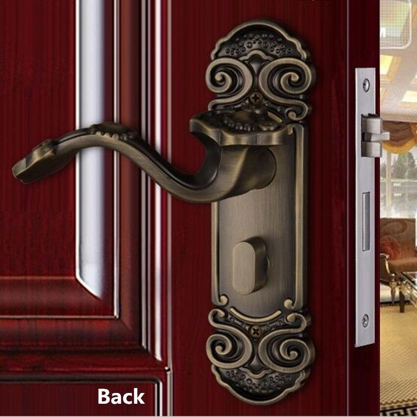 Cerraduras de puerta de madera para interiores Retro creativas de buena suerte, cerraduras de bronce antiguo para dormitorio, cerraduras de manija de puerta de madera sólida