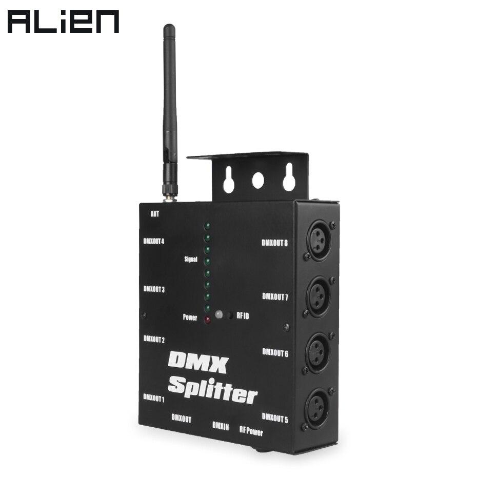 ALIEN 8-полосный беспроводной DMX 512 3-контактный изолированный сплиттер-усилитель с беспроводным приемопередатчиком DMX для DJ Disco Stage Lights