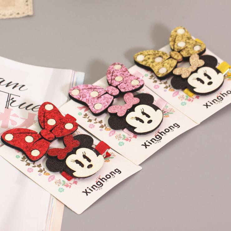 Nuevas orejas bonitas de Minnie Mouse de dibujos animados, horquillas bonitas para el pelo para niñas y bebés, Clips para el cabello, accesorios de lazos para niños, horquillas para el pelo
