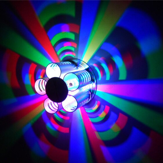 3W LED Wall Lamp RGB Auto Change Colors Ceiling Light Fixture Vestibule Disco Bar KTV Hotel Silver Shell