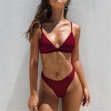 Sexy brazylijski Bikini Set kobiety jednolity wysoki Cut strój kąpielowy stroje kąpielowe lato plaża nosić kobiet niskiej talii czerwony strój kąpielowy Biquini # P
