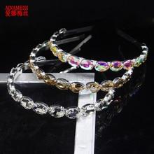 AINAMEISI Luxus 3 Farben Oval Kristall Haarband Sparkly Strass Barock Silber Überzogene Stirnband Mode Frauen Haar Zubehör