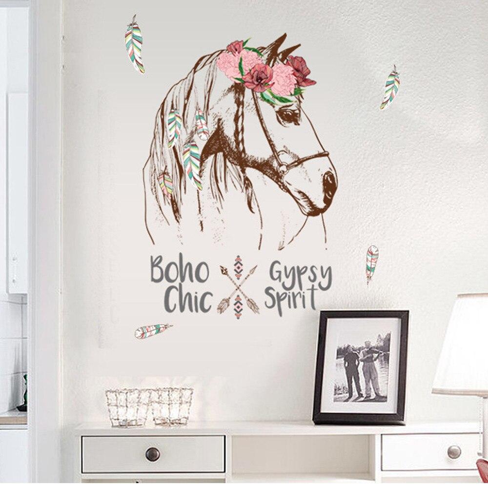 Adhesivo de vinilo extraíble de caballo colorido, adhesivo de decoración de pared para el hogar, decoración del hogar, accesorios, pegatinas de pared, decoración de habitación #20