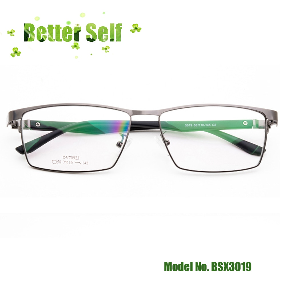 Grandes óculos de rosto tamanho grande quadros ópticos bsx3019 óculos de metal tr90 negócios retro óculos