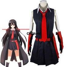 Akame ga matar akame preto vestido sem mangas uniforme outfit anime cosplay trajes