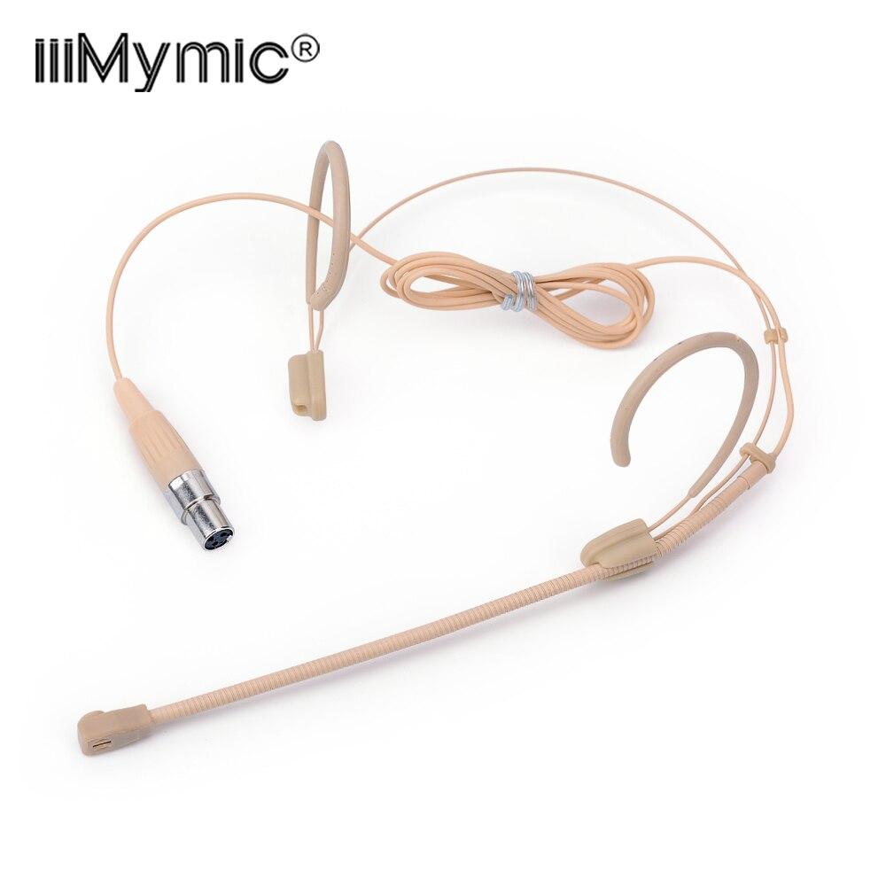 Micrófono condensador de 3 pines Beige profesional, micrófono de diadema omnidireccional para AKG, sistema inalámbrico TA3F 3 Pin XLR