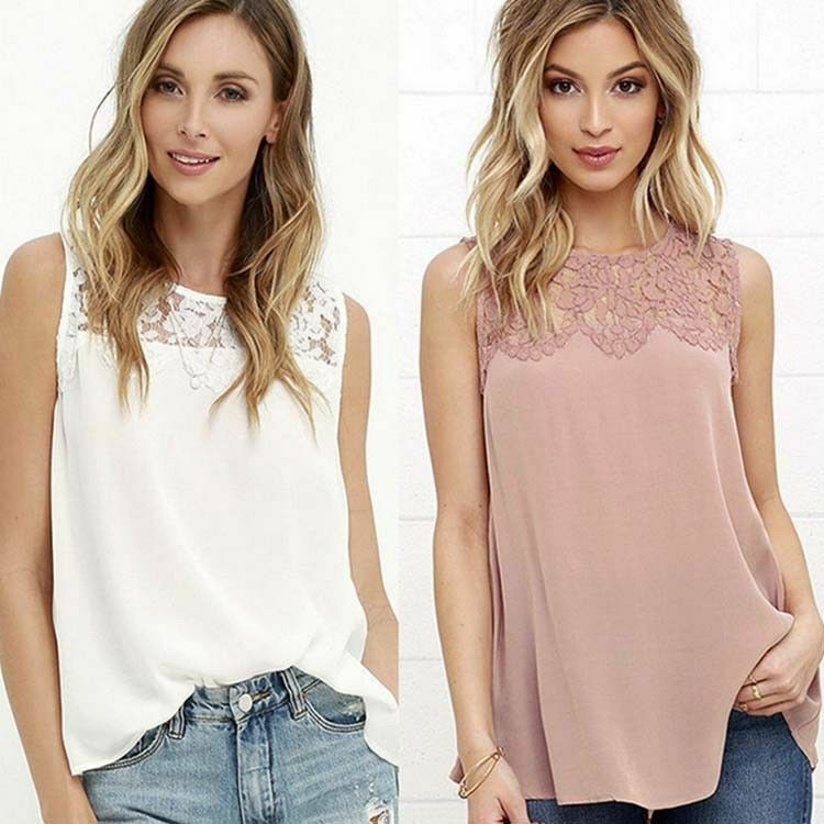 Women Ladies Summer Lace Vest Top Sleeveless Casual T-Shirt New