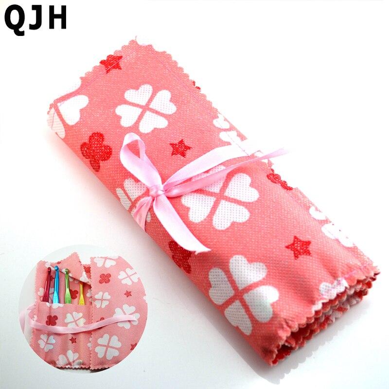 14 Slots Roze non-woven haak toelating pakket Haaknaald Pouch Knit Haken Naald Case Houder Organizer Bag