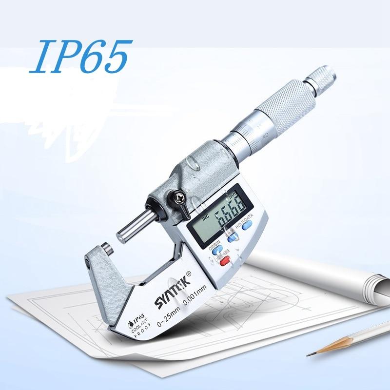 0.001 مللي متر IP65 الإلكترونية ميكرومتر 0-25-50-75-100mm للماء الرقمية خارج الفرجار ميكرومتر قياس سمك متر أدوات