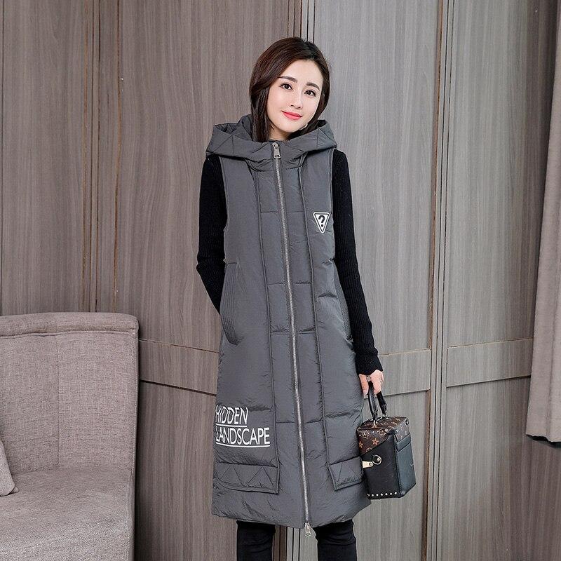 KUYOMENS Chaleco de moda para mujer 2017 Otoño Invierno medio-largo algodón acolchado chaleco femenino sin mangas chaquetas con capucha abrigo