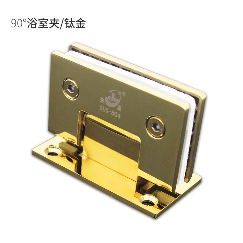 90 Degrees open 304 Stainless Steel Wall Mount Glass Shower Door Hinge gold