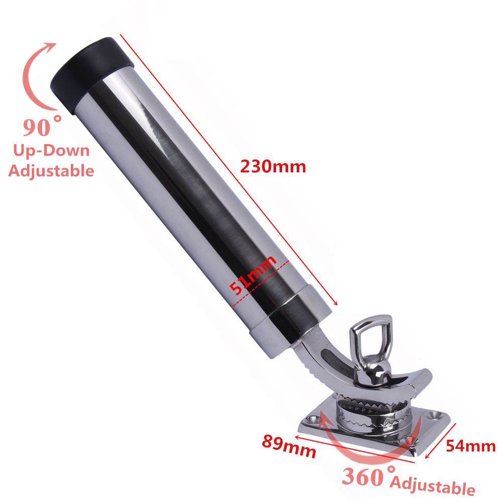 304 stainless steel fishing rod holder tube rocket launcher boat outfitting rod holders boat marine superb Boat 316 Stainless Steel Fishing Rod Holder Deck Mount Adjustable Yacht Rod Pod boat accessories marine