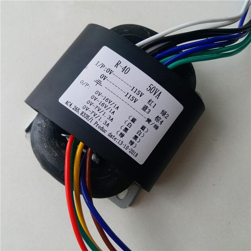 16V 1A 7V 1.3A R Core Transformer 50VA R40 transformer 115V/115V вход DAC tube Headphone Предварительный усилитель cd