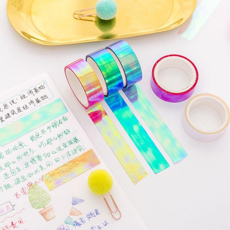 Linda cinta impermeable de plástico de Color Diy para pintar Scrapbooking decoración de portátil cinta adhesiva Kawaii pegatina papelería blanca