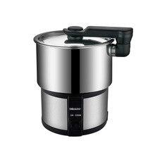 450W Portable Electric Rice Cooker Hot Pot Noodle Cooking Stainless Steel Split Pot Travel Electric Skillet Cooking 100V-240V