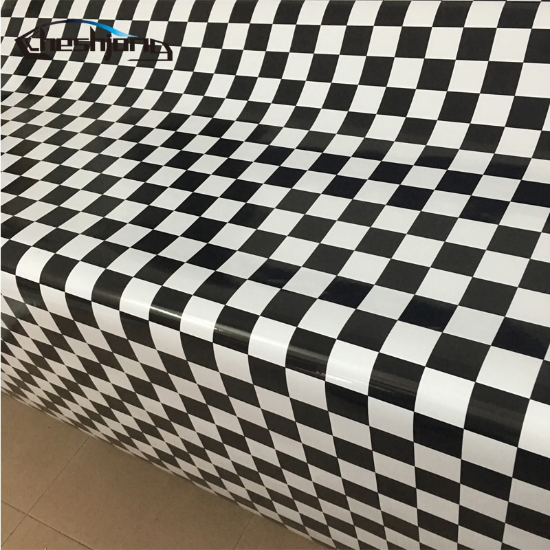 Fondo de tablero de ajedrez blanco negro calcomanía de vinilo de camuflaje para coche de carreras cubierta de techo muebles de estilo película pegatina bomba