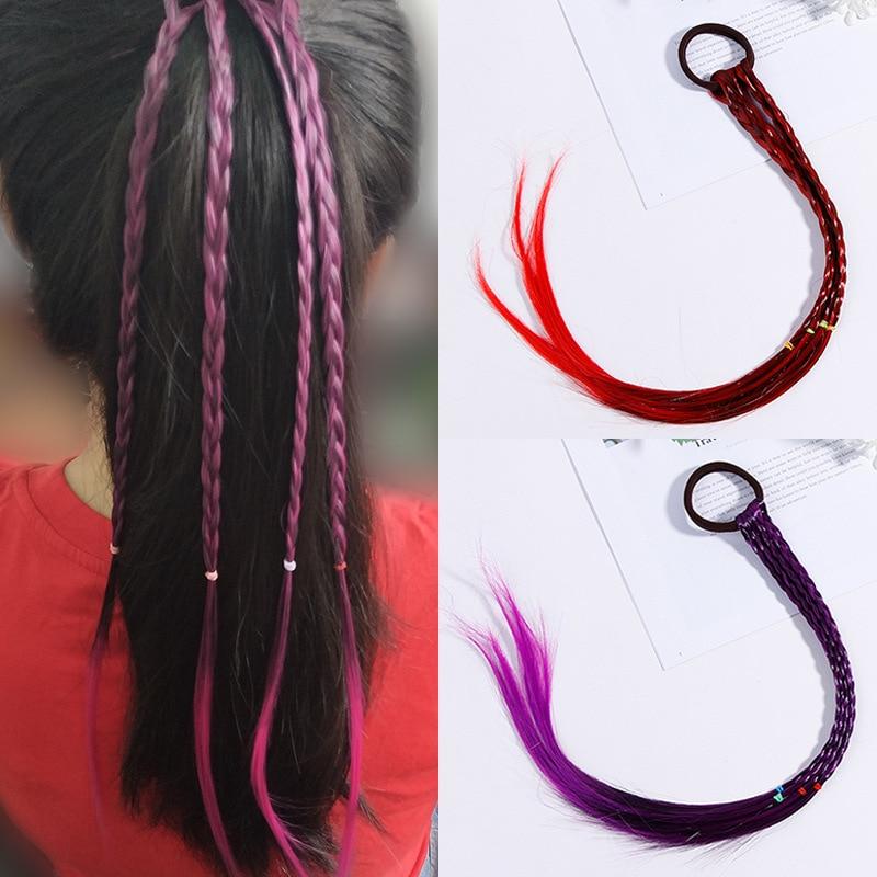 Moda crianças peruca faixa de cabelo elástico banda de borracha acessórios para o cabelo meninas torção trança corda headdress crianças presente