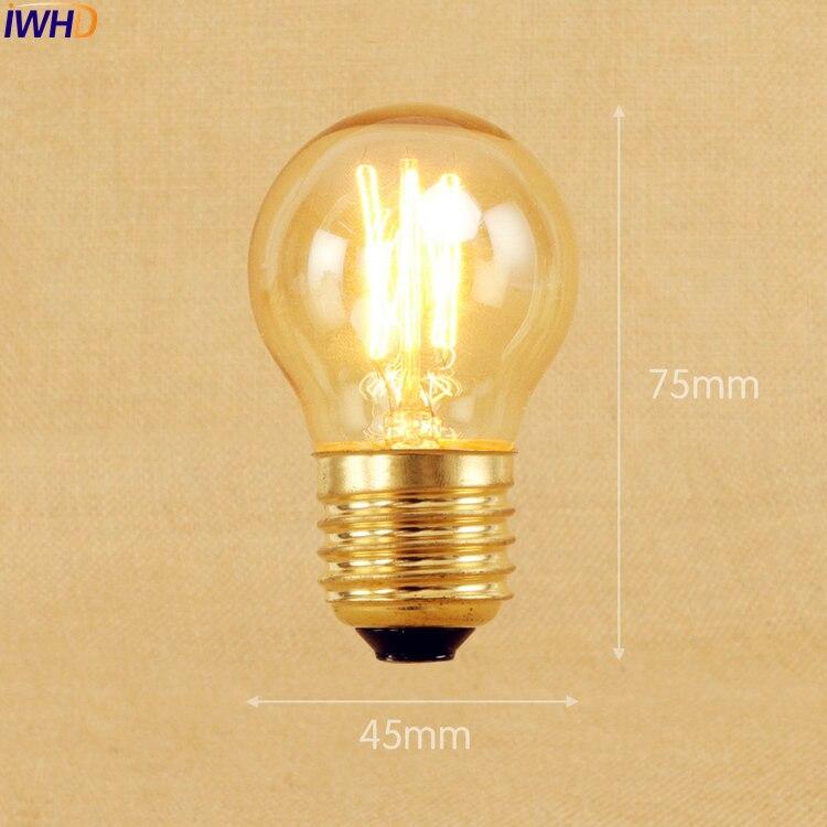 Лампа накаливания IWHD St64 A19 G95 G80 St58 T10 T185, винтажная лампа Эдисона в стиле ретро, 2 шт., 40 Вт