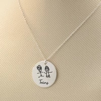925 solid silver disc necklace engraved kids drawing custom childrens paint necklace christmas memory jewelry