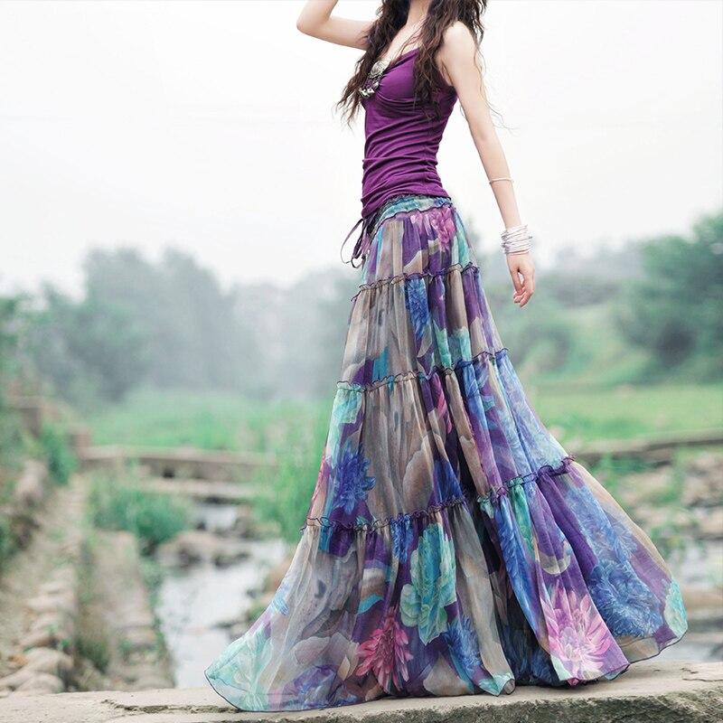 Makuluya Maxi longues jupes violettes femmes été bohême décontracté en mousseline de soie Tulle épissure impression florale plissée plage femme fille QW