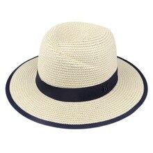 LNPBD-chapeau de soleil élégant noir   Chapeaux de Jazz pour femmes, chapeau de plage, chapeau de soirée bleu dété, lettre M Fedora, 2017