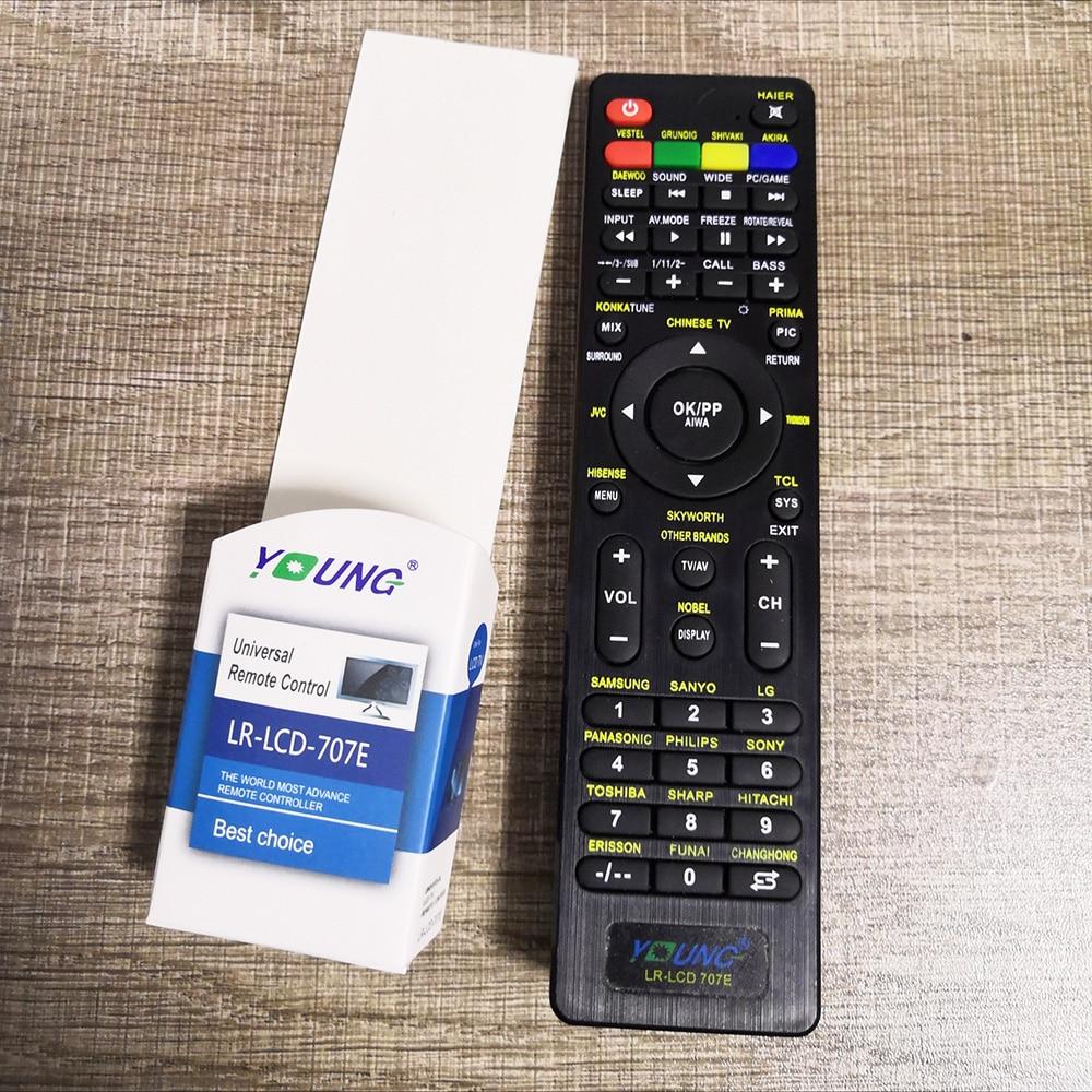 Controle remoto universal lcd LR-LCD-707E, para lg sony samsung philips haier vestel gruncavar tcl sanyo tv para a maioria dos modelos