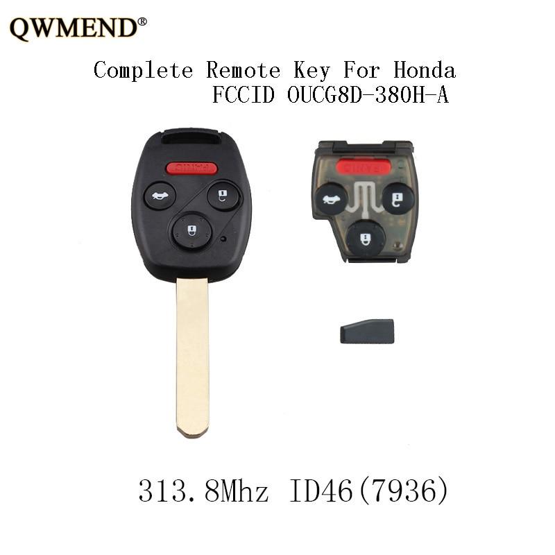 QWMEND 4 Botões 313.8Mhz Carro Remoto Keyless Chave Fob Para Honda Accord 2003 2004 2005 2006 2007 chip de ID46 Chave Remoto Completo