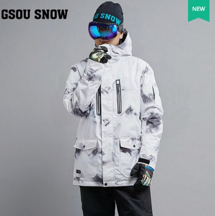 Mens White Ski Jacket Clearance Sale Male Riding Snowboarding Snow Coat Skiwear Waterproof 10K Windproof Breathable Warm