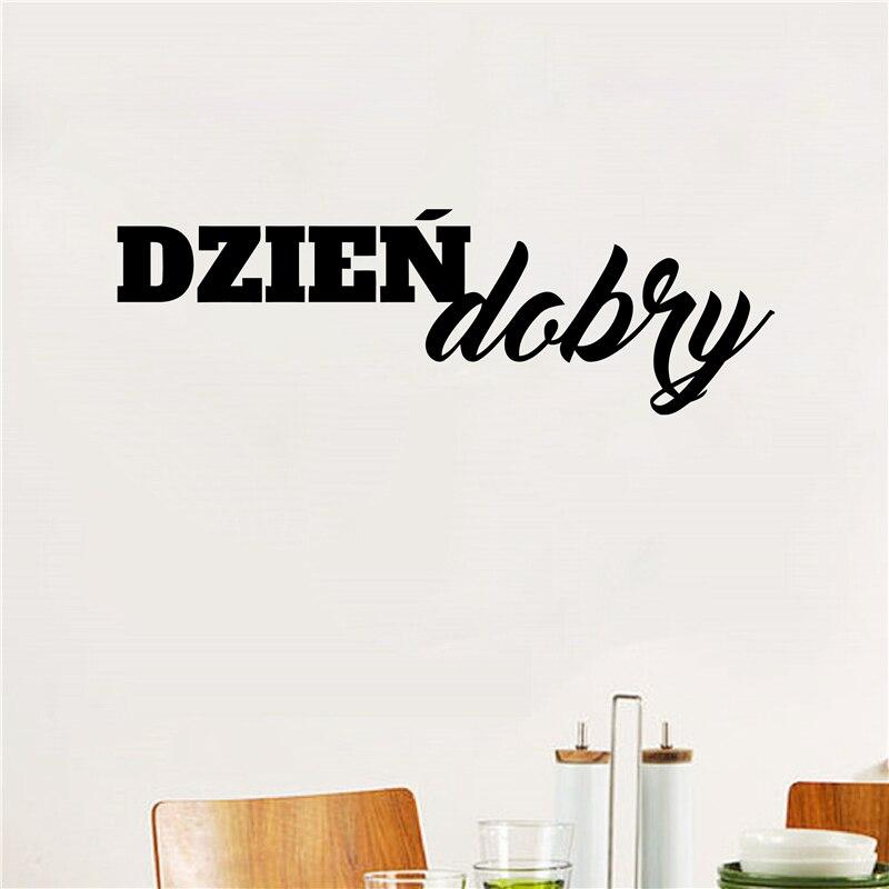 Polonia etiqueta engomada de vinilo de la pared cocina refrigerador buenos días inspirador citar pared calcomanías arte casa decoración cuarto de baño