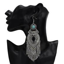 Ethnic Retro Boho Droplets Dress Mexico Gypsy Dangle Earrings color Metal Big Long Tassel Earrings india Tribal Turkish Jewelry