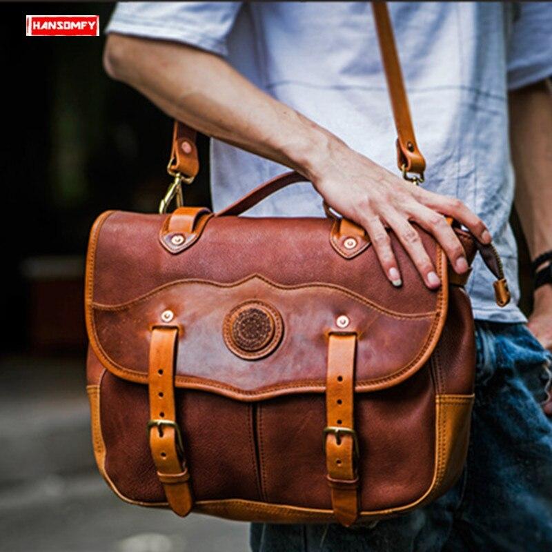 Hommes sacs à main épaule Portable sac sauvage décontracté messager sacs pour ordinateur Portable rétro à la main en cuir véritable première couche en cuir mâle
