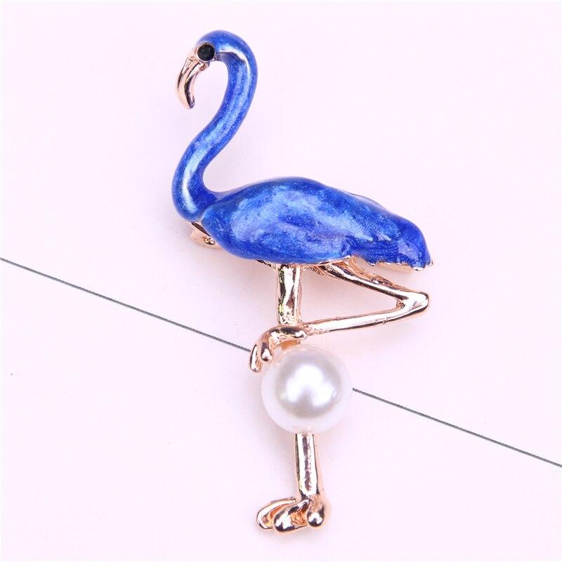 Broche de grulla, joyería de perlas simuladas, alfileres y broches de metal para mujeres, prendedor de solapa para hombres, broszki