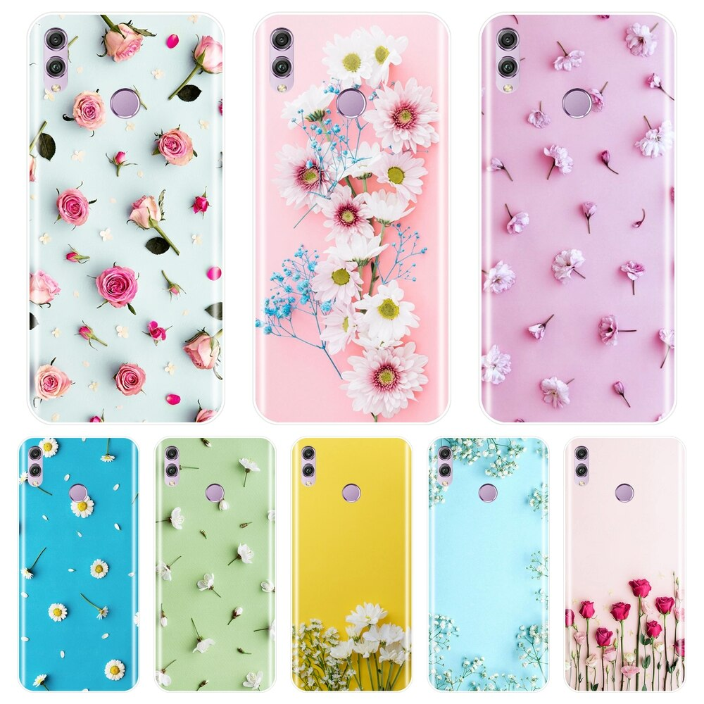 Capa de telefone para huawei honor 7 8 9 10 lite, rosa flor de silicone macio, tampa traseira para huawei honor 8x max 10 9 8 7s 7x 7a 7c pro