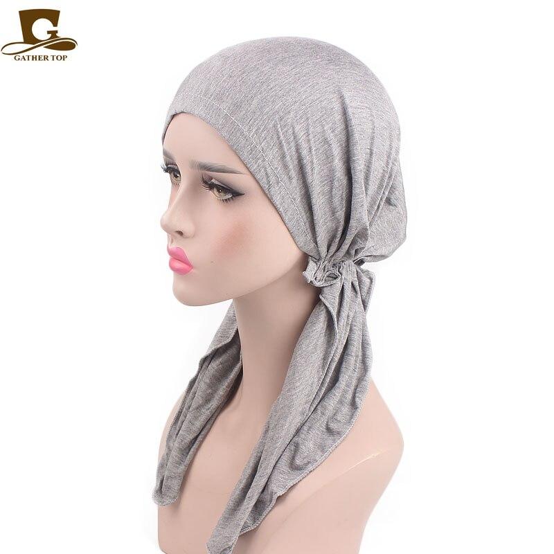 Cabido Das Mulheres da Menina elegante Headwear Sólidos Lycra Macio Pré Amarrado Mulheres Bandana Envoltório Principal Scarf