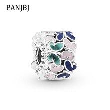 New Original Silver Plated Bead Butterfly Arrangement Clip Stopper Enamel Charm Fit Pandora Bracelet Necklace DIY Women Jewelry