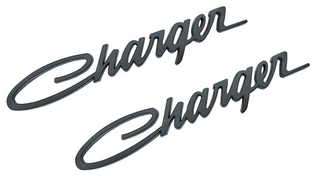 2x cargador negro placa de identificación emblema etiqueta de la insignia para Chrysler Mopar