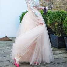 U-SWEAR New Arrival Fashion Women Tulle Skirt High Waist Floor-Length Pink Elegant Vestidos Female