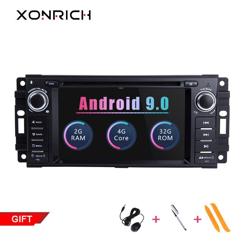 Xonrich AutoRadio1 Din Android 9,0 reproductor de DVD del coche para Chrysler 300c Jeep Compass/Dodge/RAM/Grand Cherokee discutir GPS unidad de cabeza