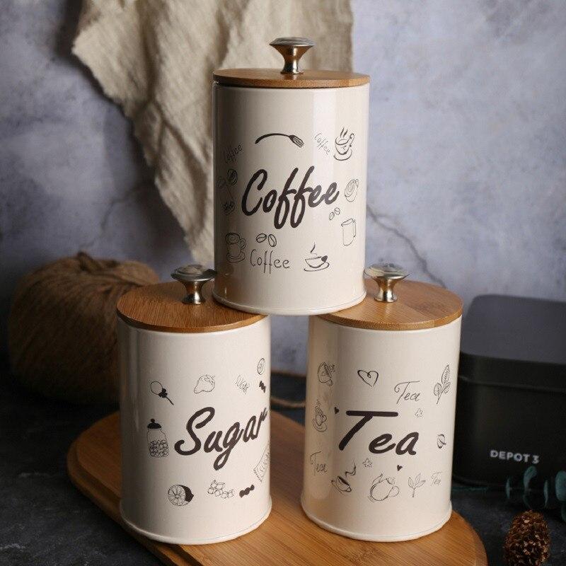 3 tarros de almacenamiento unids/set, tarros de condimentos para cocina, latas de té, tarros para dulces, té y café, caja cuadrada de azúcar, caja, tanques de almacenamiento de decoración para el hogar