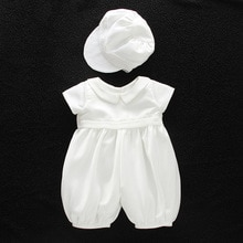 baby boy clothes white baptism baby romper set with hat turndown collar newborn first christmas boy birthday clothing 3-24M